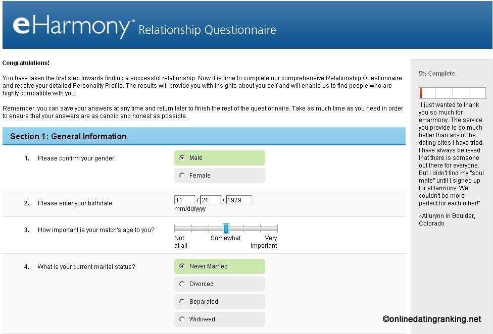 Dating website questions
